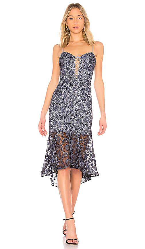 NICHOLAS Whisper Lace Up Bra Dress in Slate
