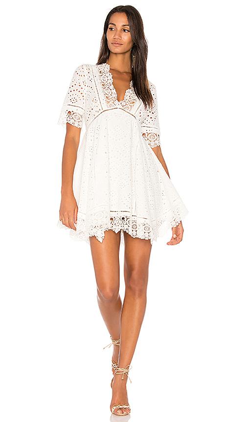 Nightcap Eyelet Flare Dress in White