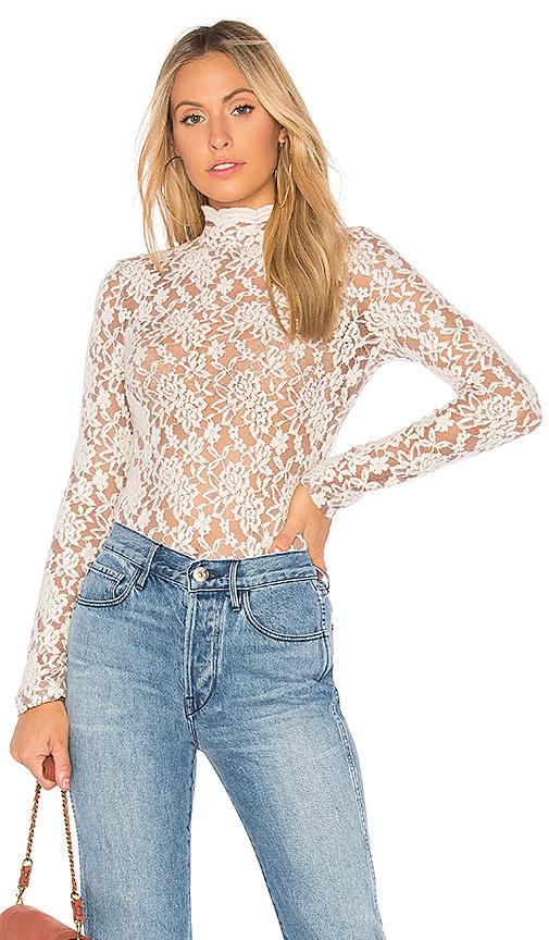 Nightcap Sweater Lace Collar Top in Cream