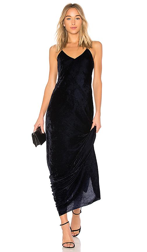 NILI LOTAN Sasha Velvet Slip Dress in Navy