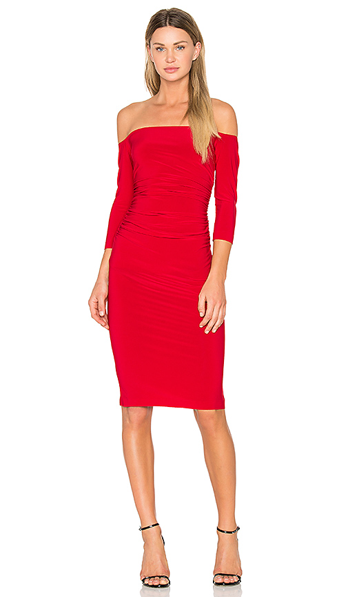 Norma Kamali Off Shoulder Shirred Dress in Red. - size L (also in M,S,XS)