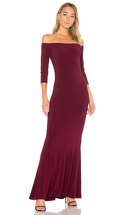 Norma Kamali x REVOLVE Off the Shoulder Fishtail Gown in Wine