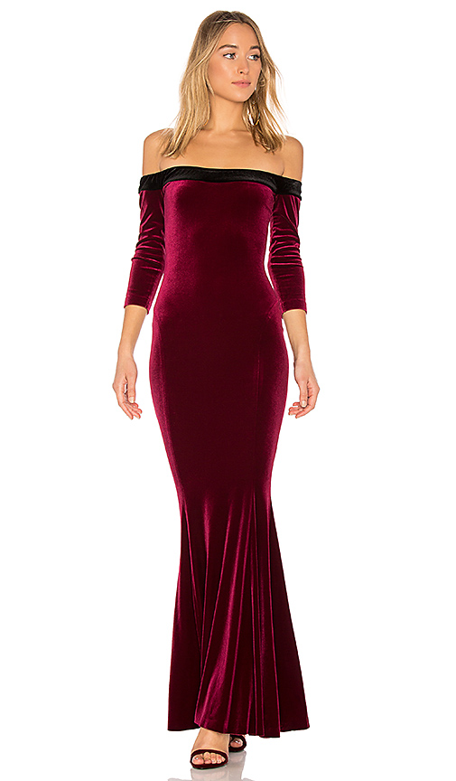 Norma Kamali Fishtail Gown in Burgundy