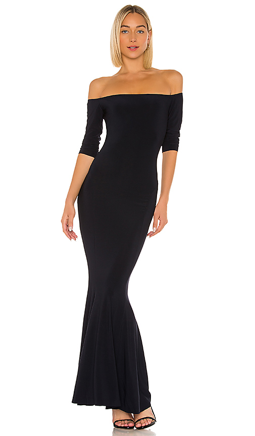 Norma Kamali Off The Shoulder Fishtail Gown in Navy
