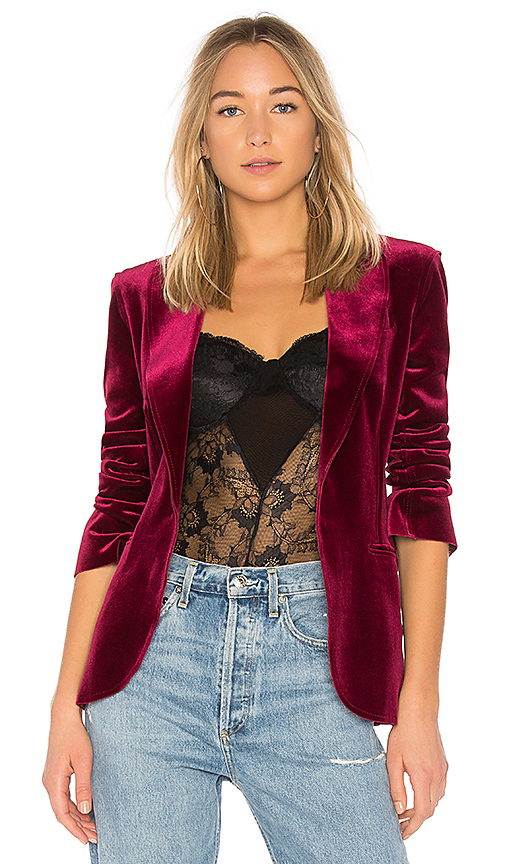 Norma Kamali Single Breasted Blazer in Burgundy. - size S (also in L,M,XS)