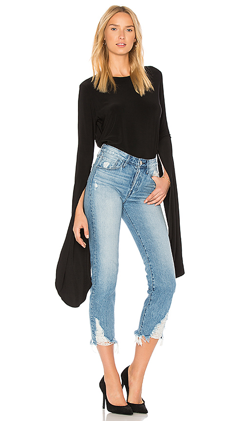 Norma Kamali Half Ribbon Sleeve Top in Black