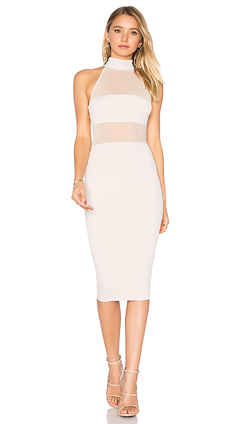 Nookie Princess Mesh Midi Dress in Blush