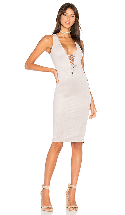 Nookie Lace Up Midi Dress in Gray