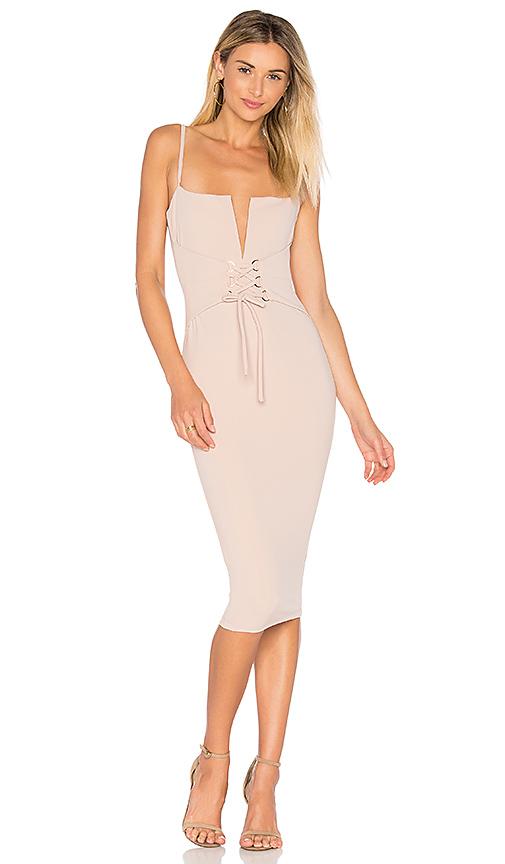 Nookie Madison Midi Dress in Beige