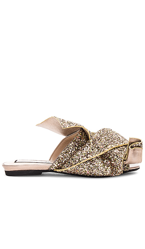 No 21 Bow Glitter Slide in Metallic Gold