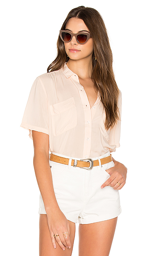 Obey St Marina Button Down in Coral
