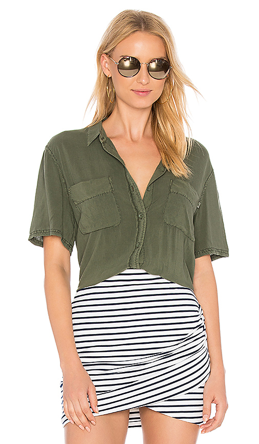 Photo of Obey St Marina Button Down in Green - shop Obey tops sales