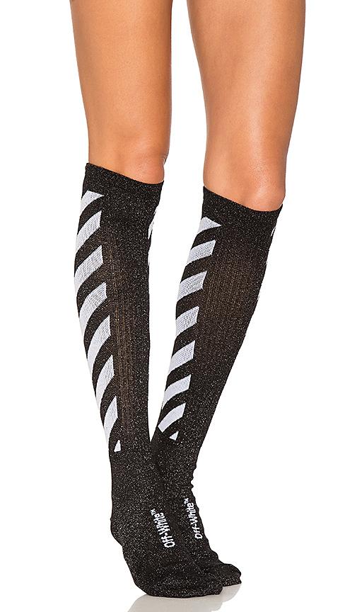 OFF-WHITE Shiny Socks in Black.