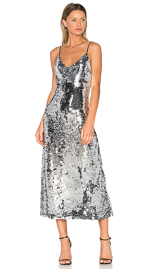 OFF-WHITE Sequins Slip Dress in Metallic Silver. - size M (also in S,XS)