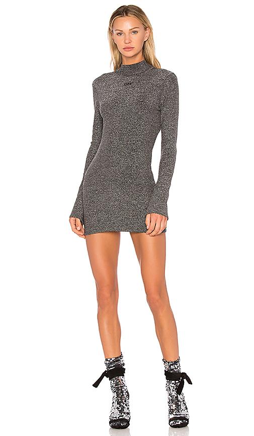 OFF-WHITE Lurex Knit Dress in Metallic Silver