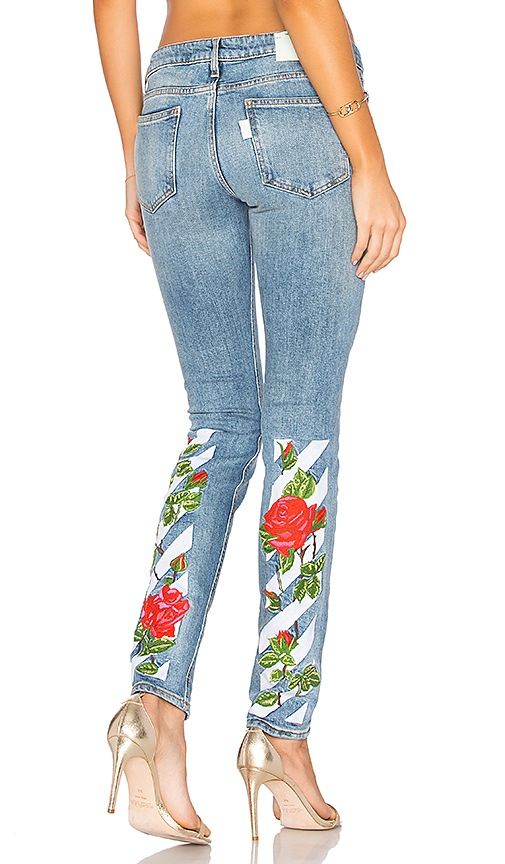 OFF-WHITE Diag Roses 5 Pocket Skinny Jeans. - size 24 (also in 25,26)