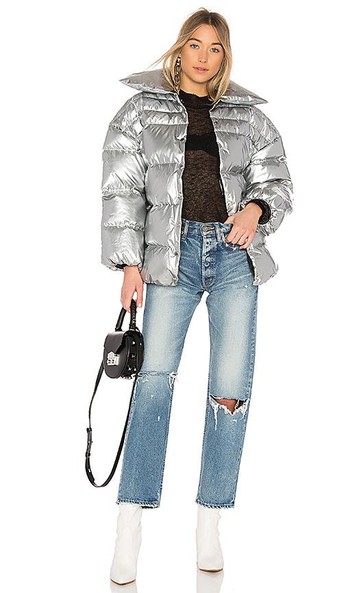 OFF-WHITE Medium Puff Jacket in Metallic Silver