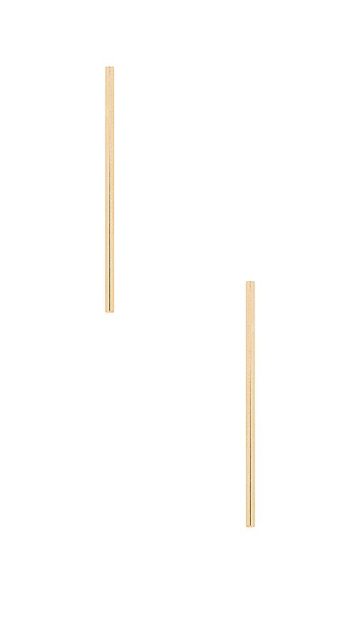 Paradigm Long Bar Post Earrings in Metallic Gold