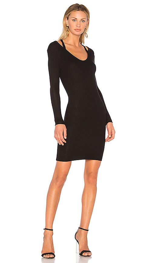Pam & Gela Split Neck Dress in Black