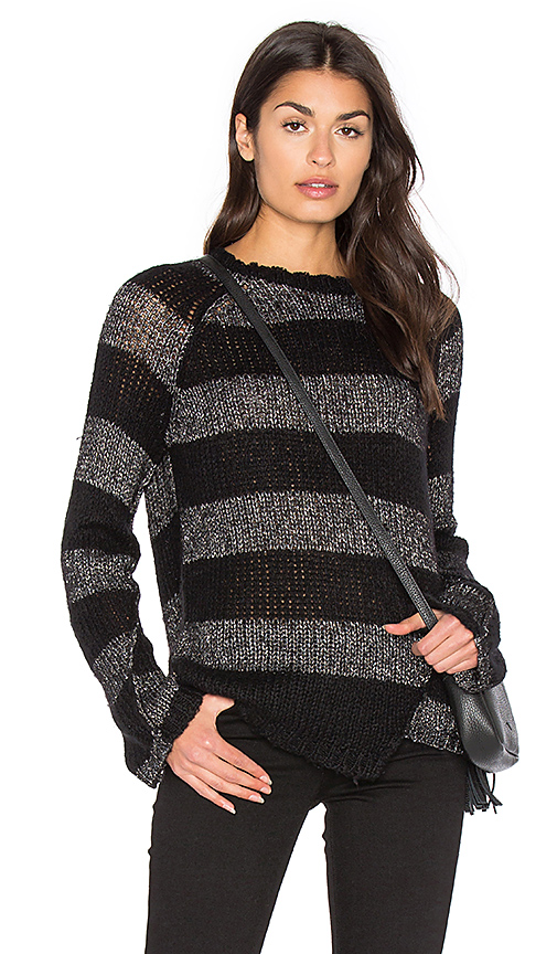 Pam & Gela Offset Stripe Sweater in Black. - size M (also in S,XS)