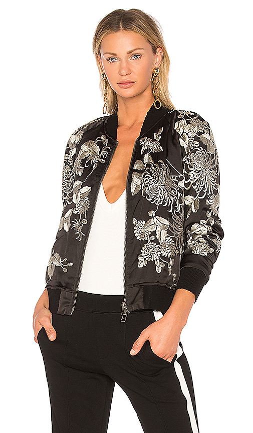 Pam & Gela Silky Embroidered Bomber in Black