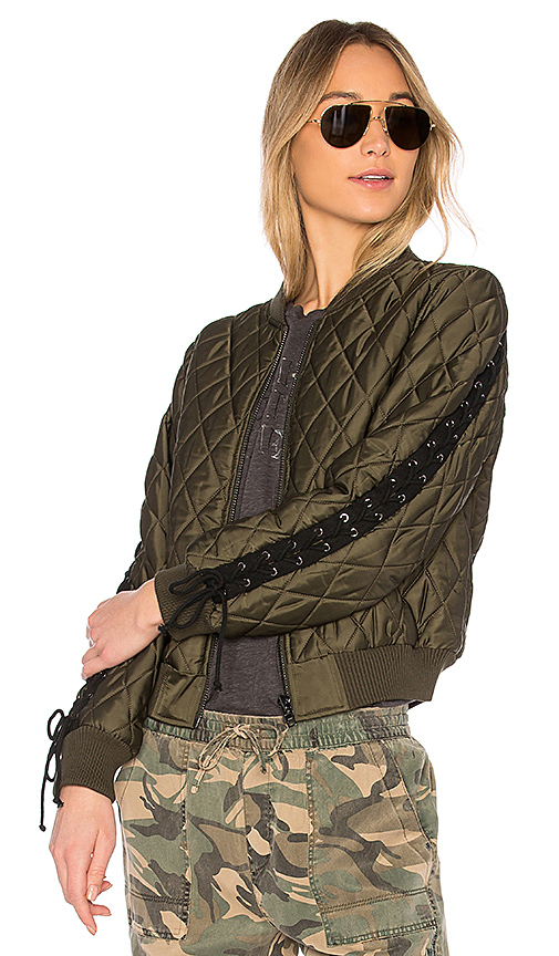 Pam & Gela Quilted Bomber in Army