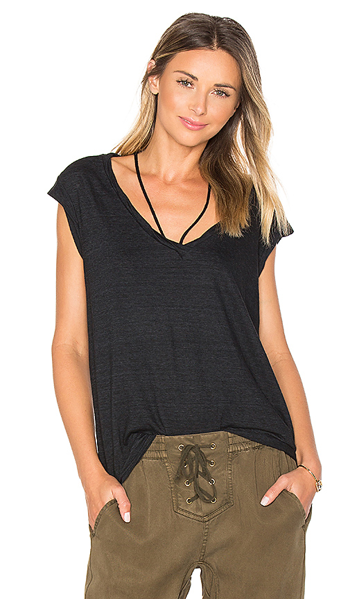 Pam & Gela V-Neck Tee With Strings in Black