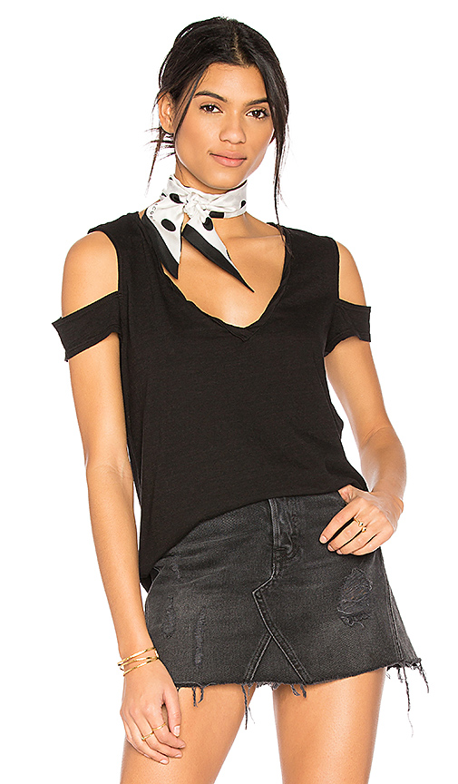 Pam & Gela V-Neck Cold Shoulder Tee in Black