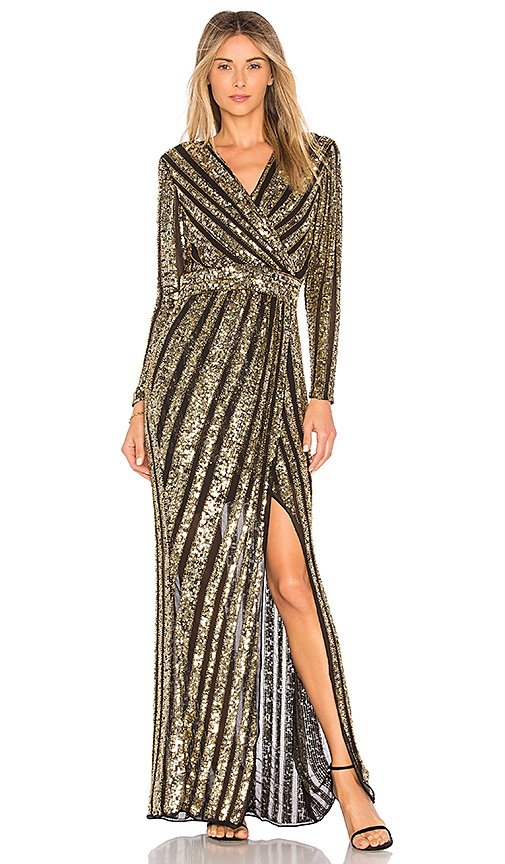 Parker Black Joyce Embellished Gown in Metallic Gold