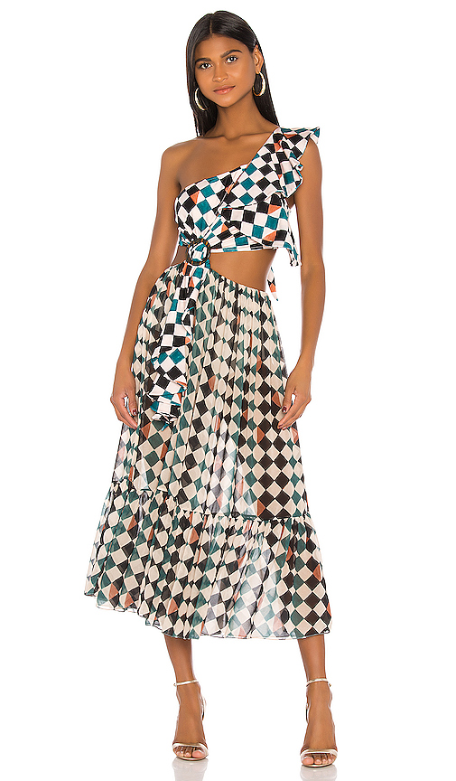 PATBO PATBO CHECK ONE SHOULDER BEACH DRESS IN CREAM,TEAL.