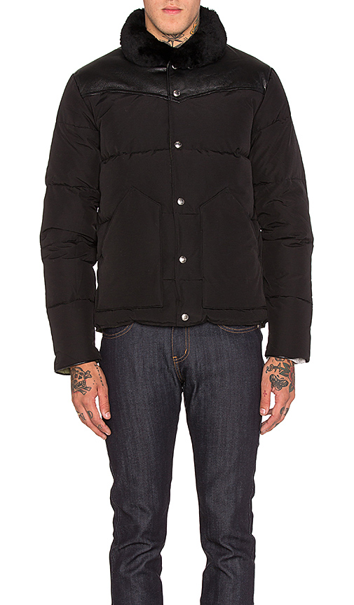 Penfield Rockwool Leather and Shearling Yoke Down Jacket in Black. - size M (also in XL)