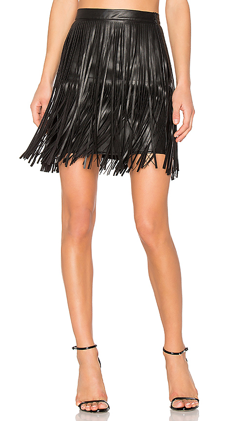 n:PHILANTHROPY Clover Fringe Mini Skirt in Black. - size M (also in S,XS)