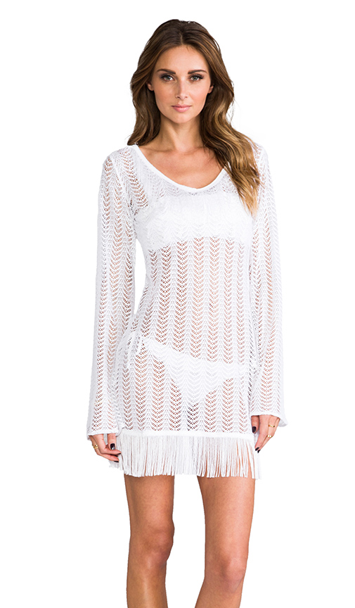 PILYQ Giovanna Fringe Tunic in White
