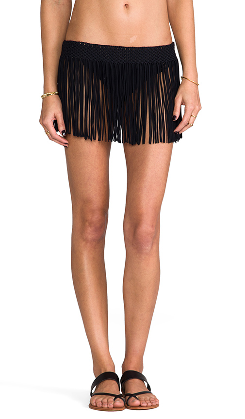 PILYQ Fringe Skirt in Black