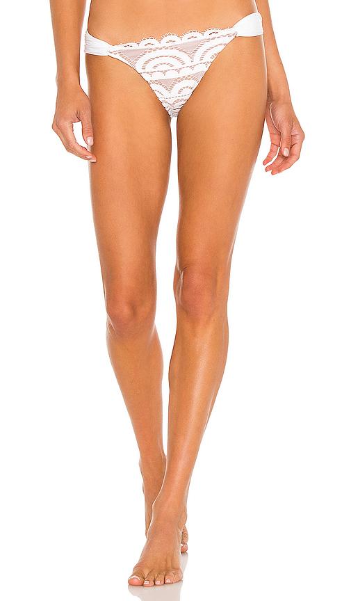 PILYQ Lace Fanned Teeny Bikini Bottom in White