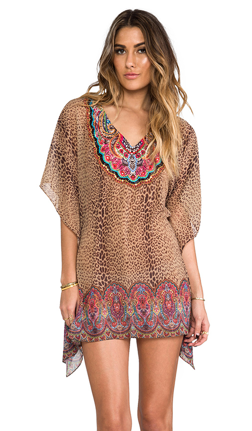 PILYQ Raja Breezy Embroidered Tunic in Tan