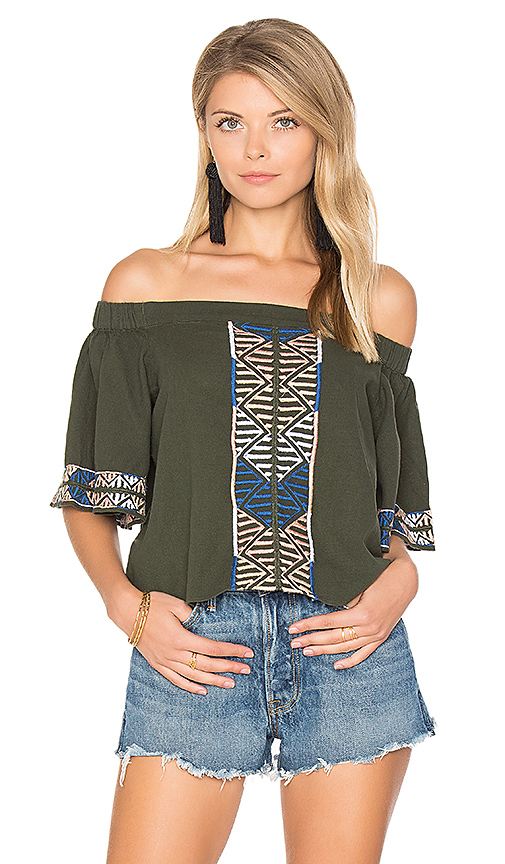 Photo of PIPER Bogo Off the Shoulder Top in Dark Green - shop PIPER tops sales