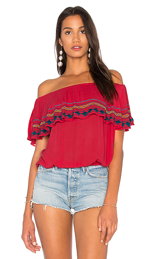 PIPER Byron Strapless Top in Red