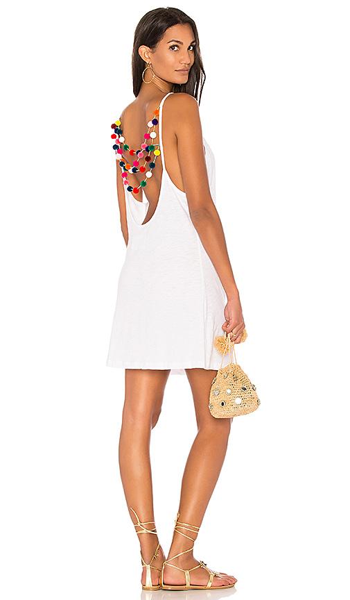 Pitusa Mini Pom Pom Dress in White
