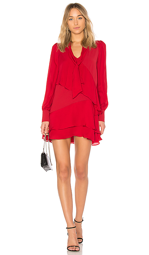 Parker Kenji Combo Dress in Red. - size S (also in L,M,XS)