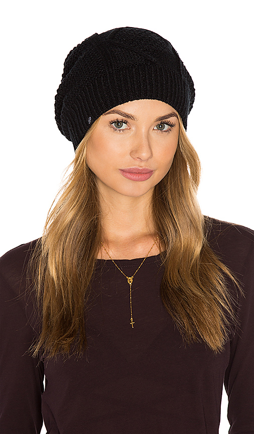 Plush Diamond Cable Knit Beanie in Black.