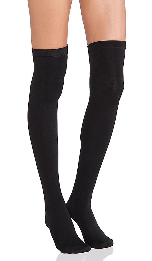 Plush Thigh High Fleece Lined Leggings in Black