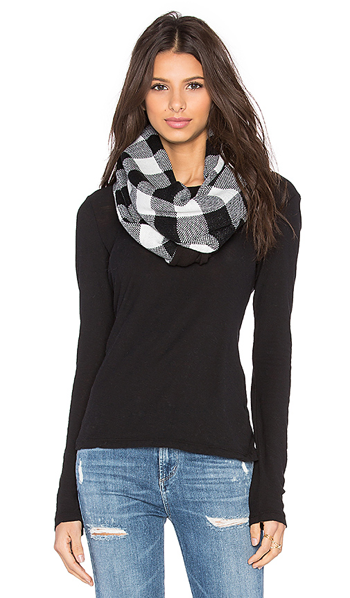 Plush Fleece Lined Plaid Infinity Scarf in Black & White