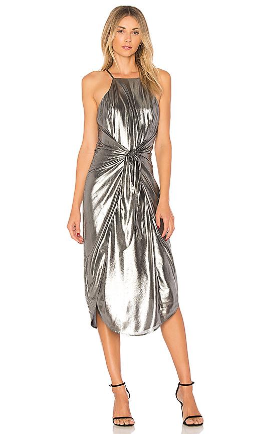 Privacy Please Lehunt Dress in Metallic Silver