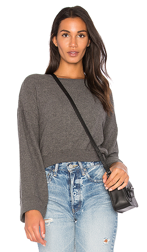 Project Social T Louis Split Sleeve Top in Charcoal