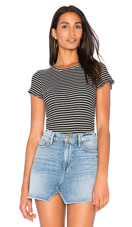Project Social T Lainey Striped Rib Tee in Black & White
