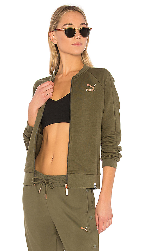 Puma Archive Logo T7 Track Jacket in Olive