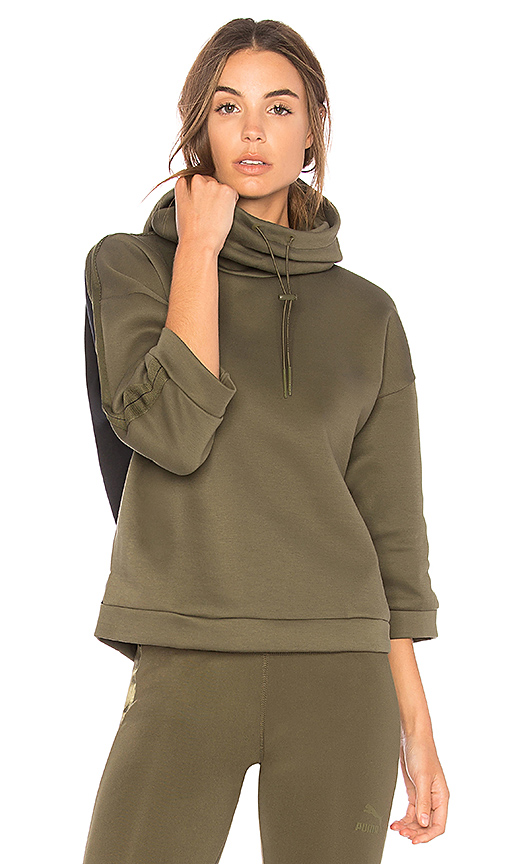 Puma Funnel Neck Hoodie in Olive
