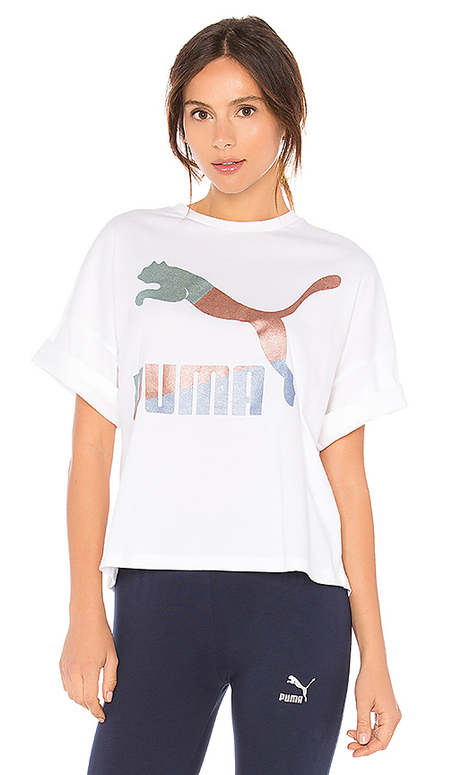 Puma Glam Boxy Tee in White