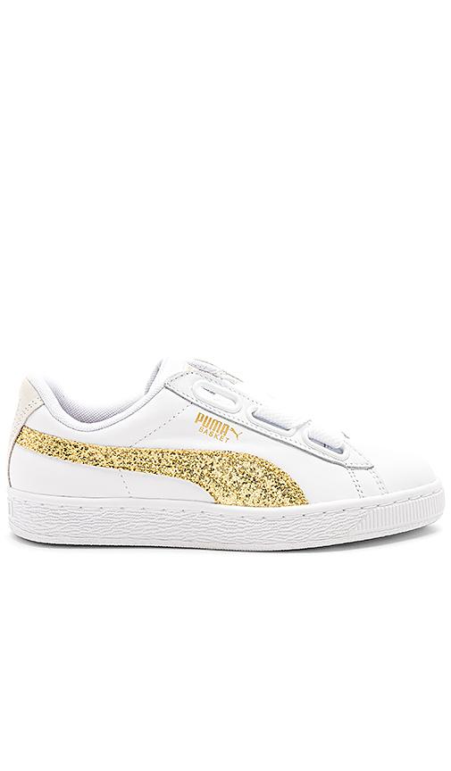 Puma Basket Heart Glitter Sneaker in White